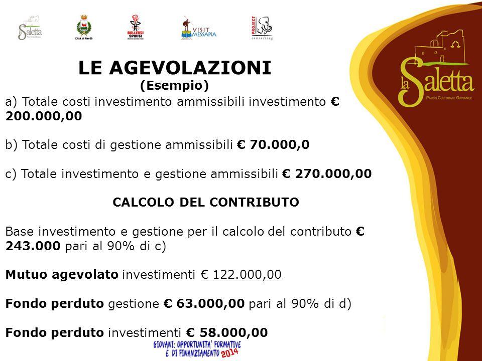 LE AGEVOLAZIONI (Esempio) a) Totale costi investimento ammissibili investimento € 200.000,00 b) Totale costi di gestione ammissibili € 70.000,0 c) Tot