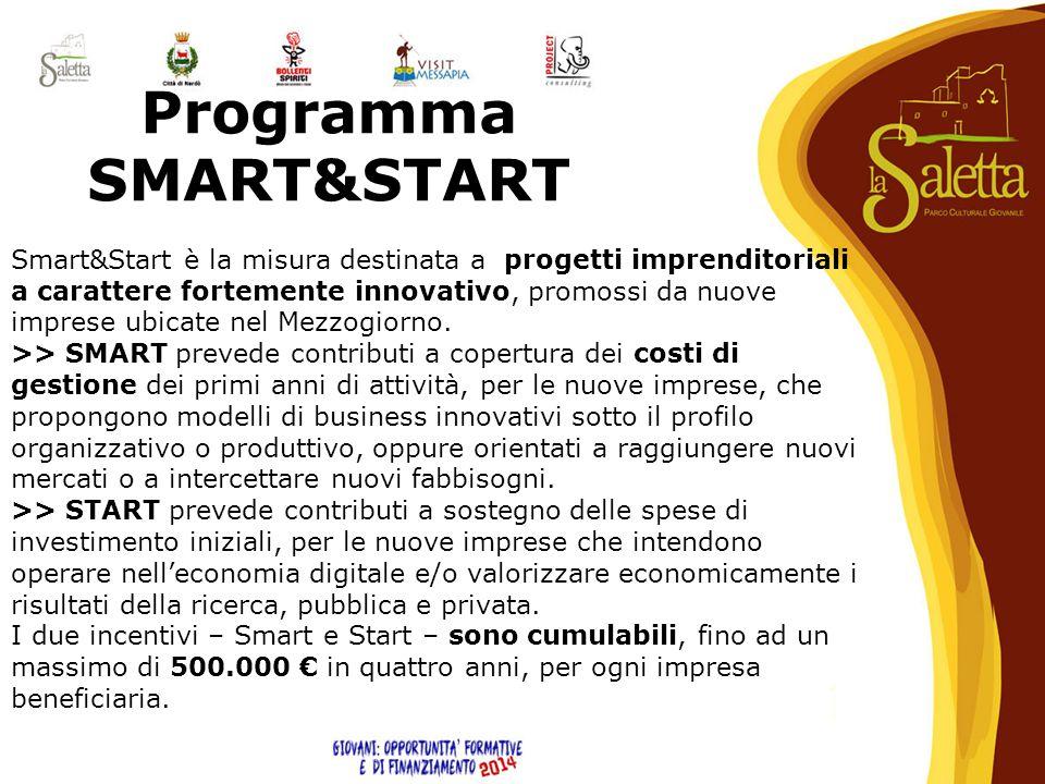 Programma SMART&START Smart&Start è la misura destinata a progetti imprenditoriali a carattere fortemente innovativo, promossi da nuove imprese ubicat