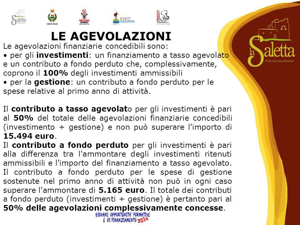 LE AGEVOLAZIONI Le agevolazioni finanziarie concedibili sono: per gli investimenti: un finanziamento a tasso agevolato e un contributo a fondo perduto
