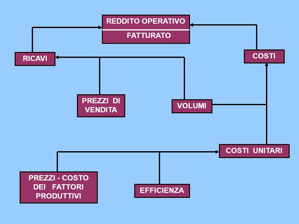 PREZZI - COSTO DEI FATTORI PRODUTTIVI EFFICIENZA RICAVI COSTI PREZZI DI VENDITA VOLUMI COSTI UNITARI REDDITO OPERATIVO FATTURATO