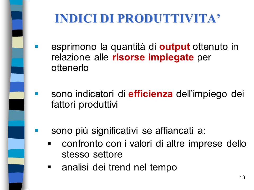 13 INDICI DI PRODUTTIVITA'  esprimono la quantità di output ottenuto in relazione alle risorse impiegate per ottenerlo  sono indicatori di efficienz