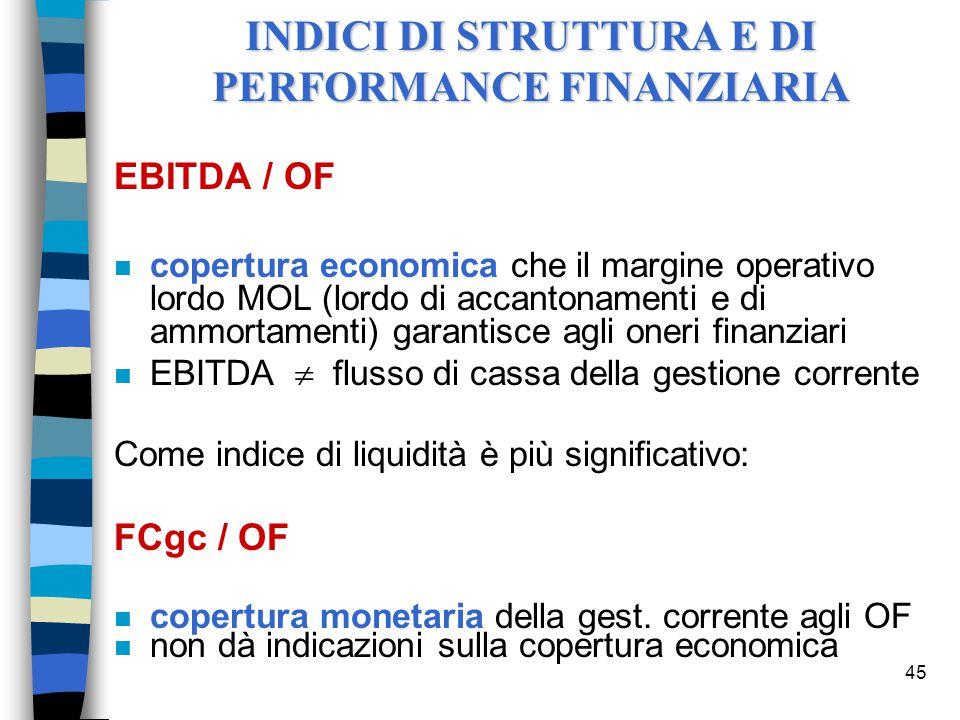45 EBITDA / OF n copertura economica che il margine operativo lordo MOL (lordo di accantonamenti e di ammortamenti) garantisce agli oneri finanziari n