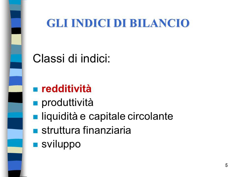 5 Classi di indici: n redditività n produttività n liquidità e capitale circolante n struttura finanziaria n sviluppo GLI INDICI DI BILANCIO