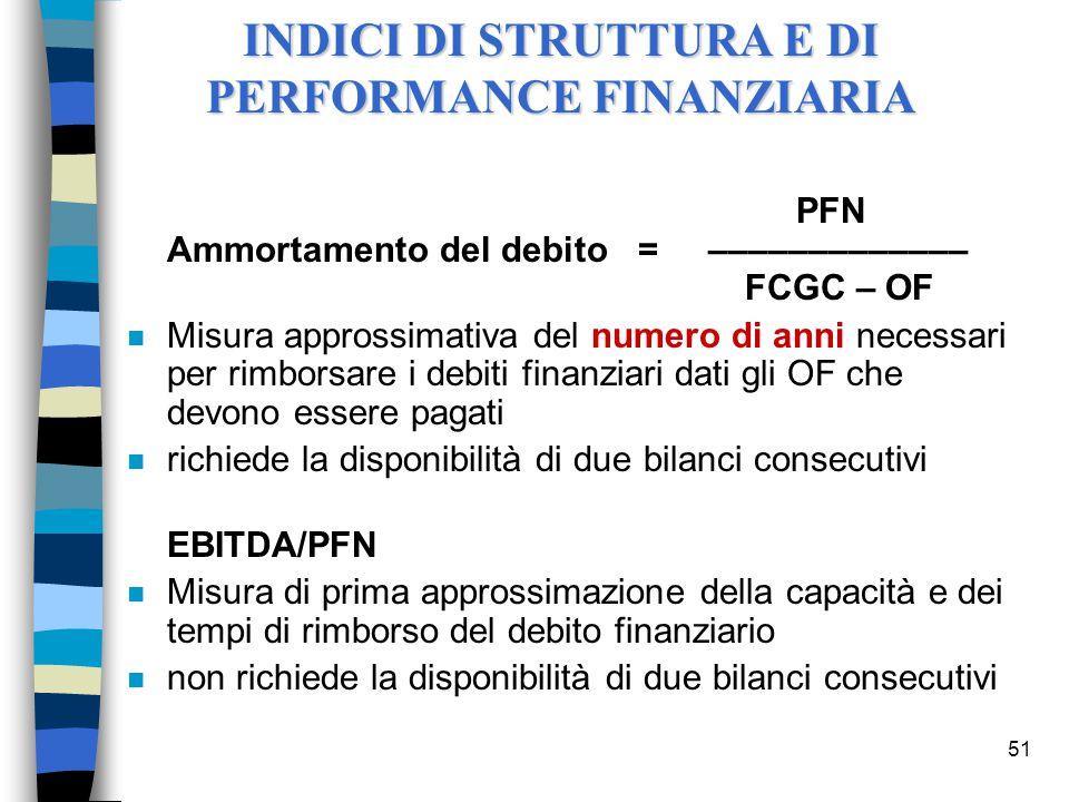 51 PFN Ammortamento del debito = ––––––––––––– FCGC – OF n Misura approssimativa del numero di anni necessari per rimborsare i debiti finanziari dati gli OF che devono essere pagati n richiede la disponibilità di due bilanci consecutivi EBITDA/PFN n Misura di prima approssimazione della capacità e dei tempi di rimborso del debito finanziario n non richiede la disponibilità di due bilanci consecutivi INDICI DI STRUTTURA E DI PERFORMANCE FINANZIARIA