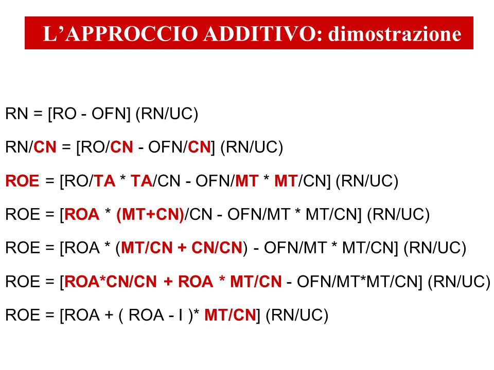 RN = [RO - OFN] (RN/UC) RN/CN = [RO/CN - OFN/CN] (RN/UC) ROE = [RO/TA * TA/CN - OFN/MT * MT/CN] (RN/UC) ROE = [ROA * (MT+CN)/CN - OFN/MT * MT/CN] (RN/UC) ROE = [ROA * (MT/CN + CN/CN) - OFN/MT * MT/CN] (RN/UC) ROE = [ROA*CN/CN + ROA * MT/CN - OFN/MT*MT/CN] (RN/UC) ROE = [ROA + ( ROA - I )* MT/CN] (RN/UC) L'APPROCCIO ADDITIVO: dimostrazione