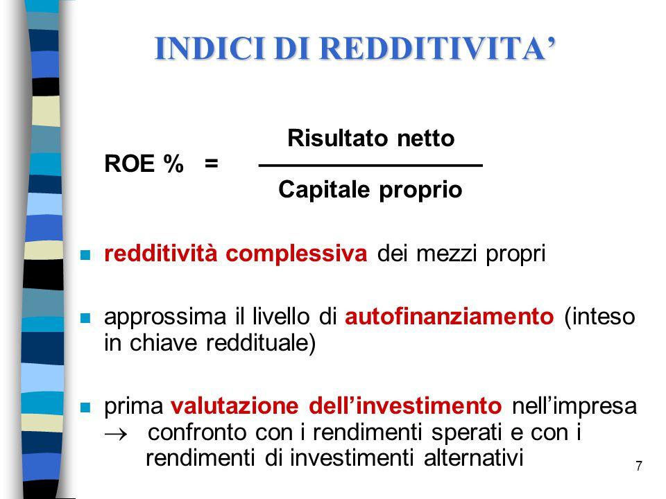 7 Risultato netto ROE % = ––––––––––––––––– Capitale proprio n redditività complessiva dei mezzi propri n approssima il livello di autofinanziamento (inteso in chiave reddituale) n prima valutazione dell'investimento nell'impresa  confronto con i rendimenti sperati e con i rendimenti di investimenti alternativi INDICI DI REDDITIVITA'