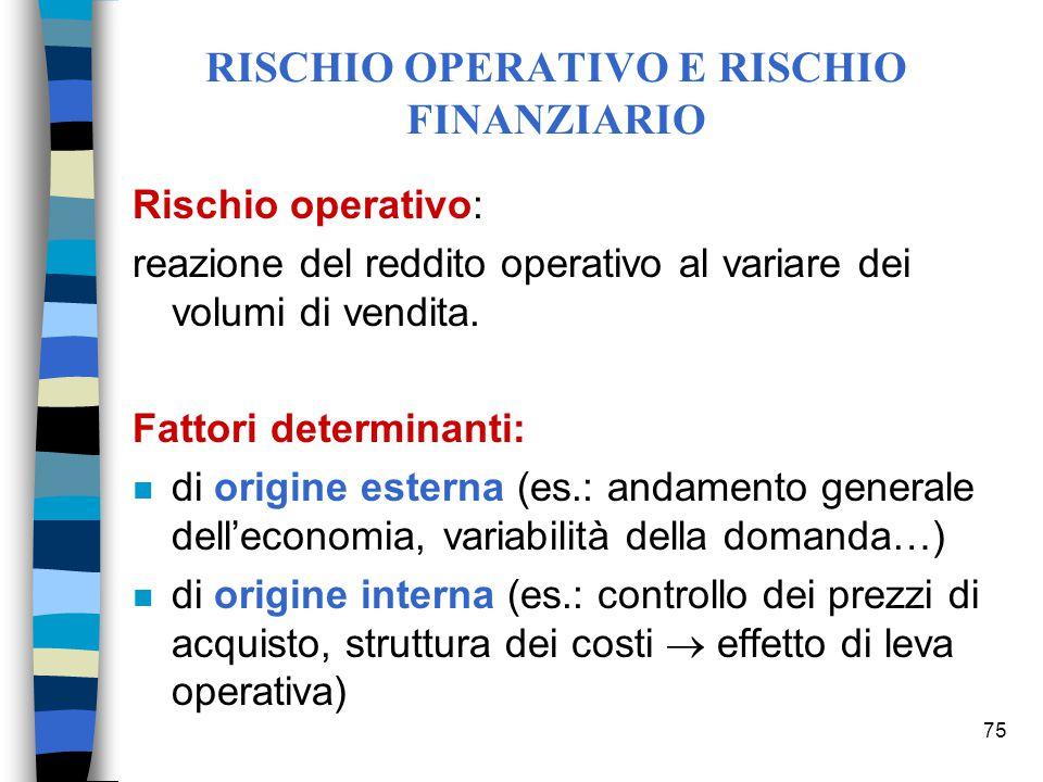 75 RISCHIO OPERATIVO E RISCHIO FINANZIARIO Rischio operativo: reazione del reddito operativo al variare dei volumi di vendita. Fattori determinanti: n