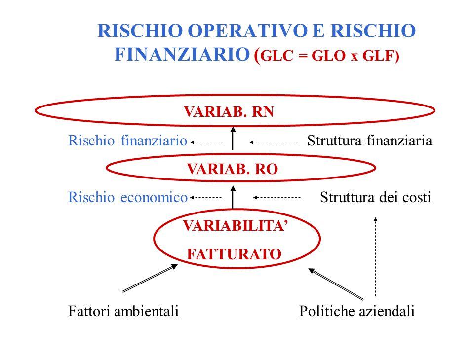 VARIAB. RN Rischio finanziario Struttura finanziaria VARIAB. RO Rischio economico Struttura dei costi VARIABILITA' FATTURATO Fattori ambientali Politi