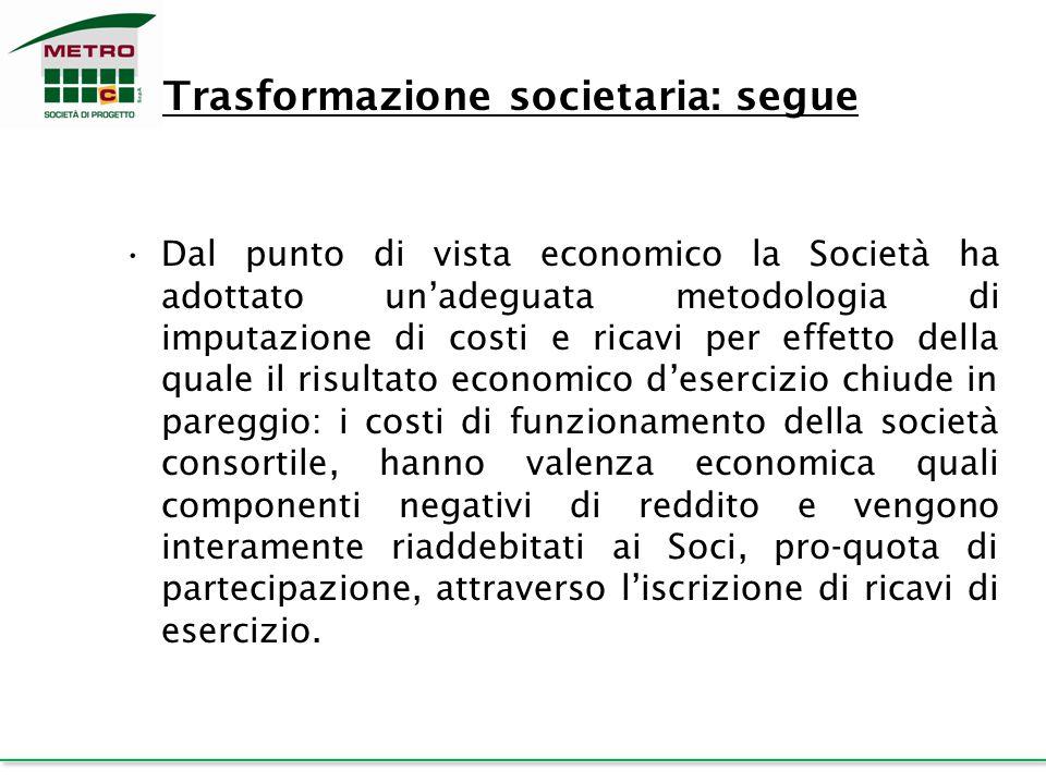 Trasformazione societaria: segue Dal punto di vista economico la Società ha adottato un'adeguata metodologia di imputazione di costi e ricavi per effe