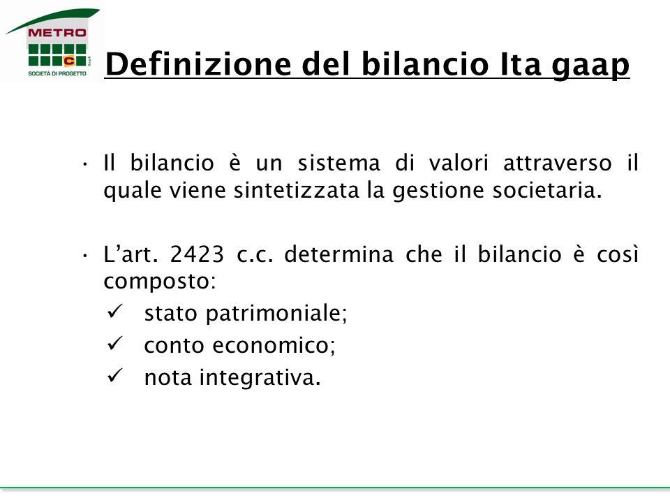 Definizione del bilancio Ita gaap Il bilancio è un sistema di valori attraverso il quale viene sintetizzata la gestione societaria. L'art. 2423 c.c. d