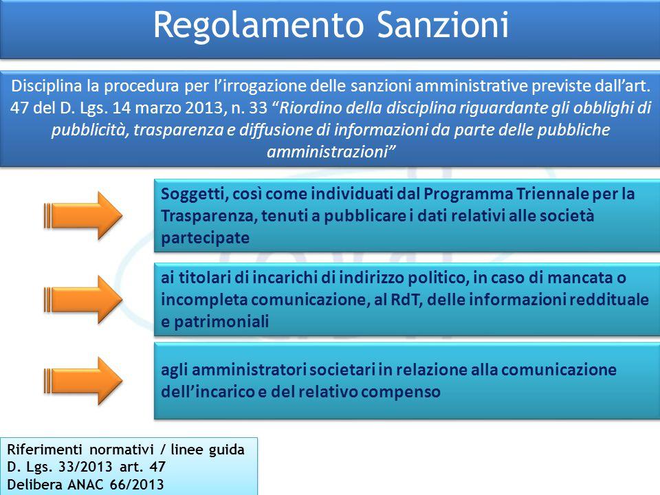 Regolamento Sanzioni Riferimenti normativi / linee guida D. Lgs. 33/2013 art. 47 Delibera ANAC 66/2013 Riferimenti normativi / linee guida D. Lgs. 33/