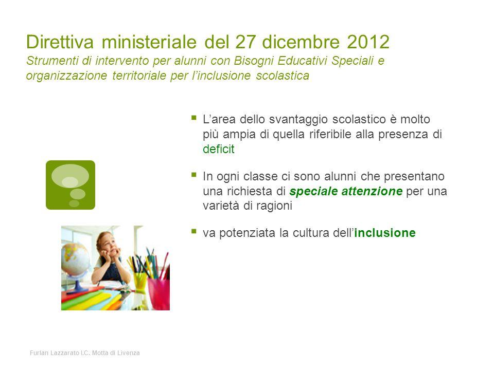 Direttiva ministeriale del 27 dicembre 2012 Strumenti di intervento per alunni con Bisogni Educativi Speciali e organizzazione territoriale per l'incl