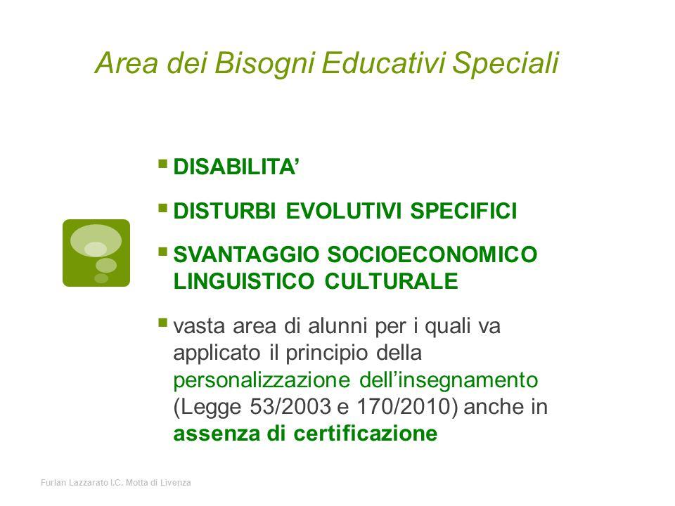 Area dei Bisogni Educativi Speciali  DISABILITA'  DISTURBI EVOLUTIVI SPECIFICI  SVANTAGGIO SOCIOECONOMICO LINGUISTICO CULTURALE  vasta area di alu