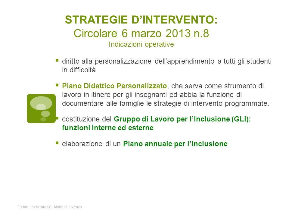 STRATEGIE D'INTERVENTO: Circolare 6 marzo 2013 n.8 Indicazioni operative  diritto alla personalizzazione dell'apprendimento a tutti gli studenti in d