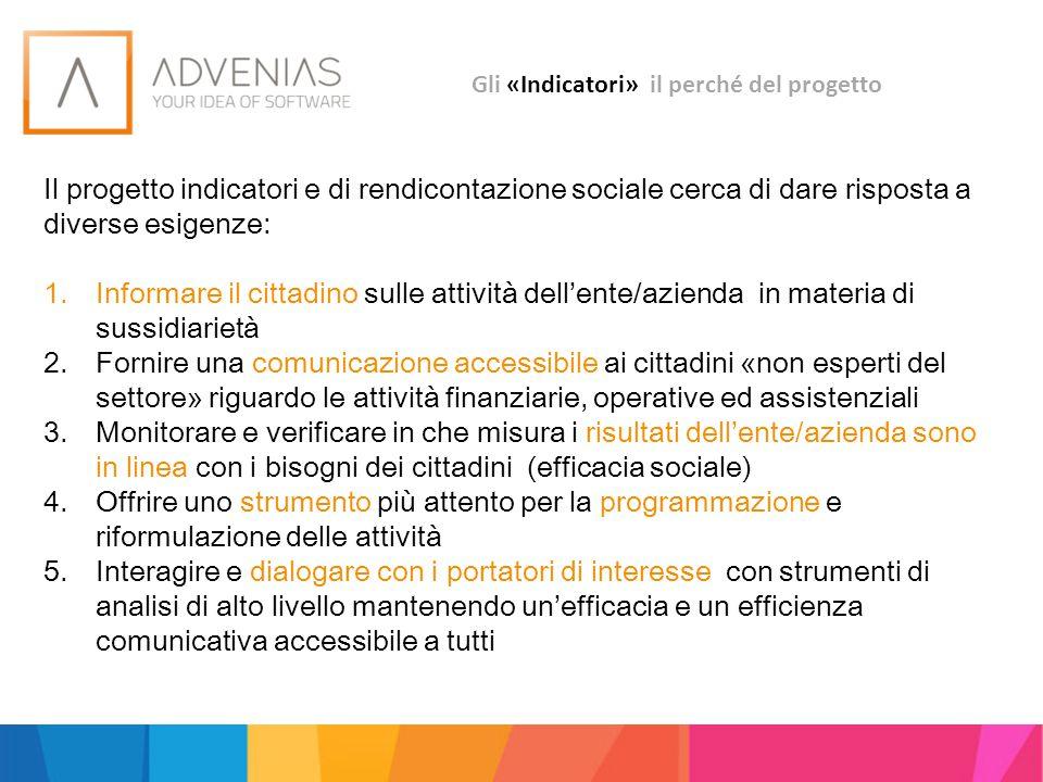 Gli «Indicatori» il perché del progetto Il progetto indicatori e di rendicontazione sociale cerca di dare risposta a diverse esigenze: 1.Informare il