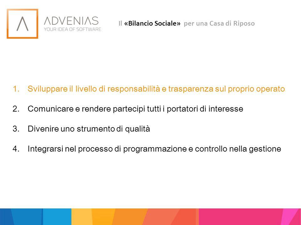 Il «Bilancio Sociale» strumento di accountability Accountability ovvero: Responsabilità rispetto agli esiti trasparenza dialogo azione