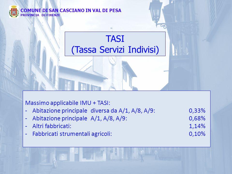 TASI (Tassa Servizi Indivisi) COMUNE DI SAN CASCIANO IN VAL DI PESA PROVINCIA DI FIRENZE Massimo applicabile IMU + TASI: -Abitazione principale divers
