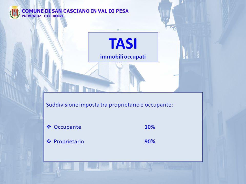 COMUNE DI SAN CASCIANO IN VAL DI PESA PROVINCIA DI FIRENZE TASI immobili occupati Suddivisione imposta tra proprietario e occupante:  Occupante10% 