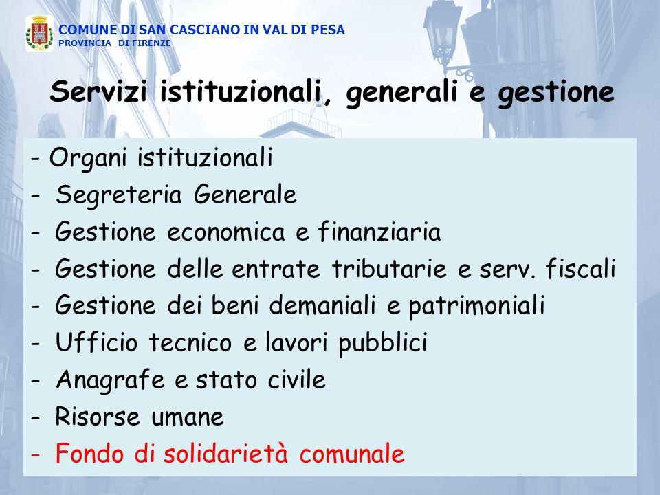- Organi istituzionali -Segreteria Generale -Gestione economica e finanziaria -Gestione delle entrate tributarie e serv. fiscali -Gestione dei beni de