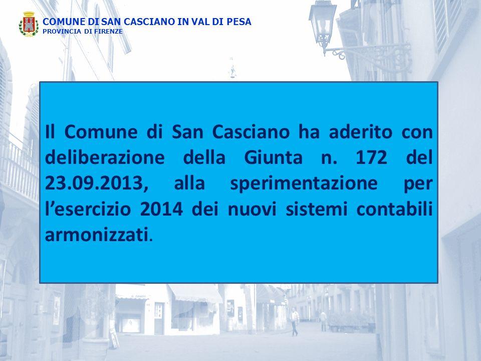 COMUNE DI SAN CASCIANO IN VAL DI PESA PROVINCIA DI FIRENZE Il Comune di San Casciano ha aderito con deliberazione della Giunta n. 172 del 23.09.2013,