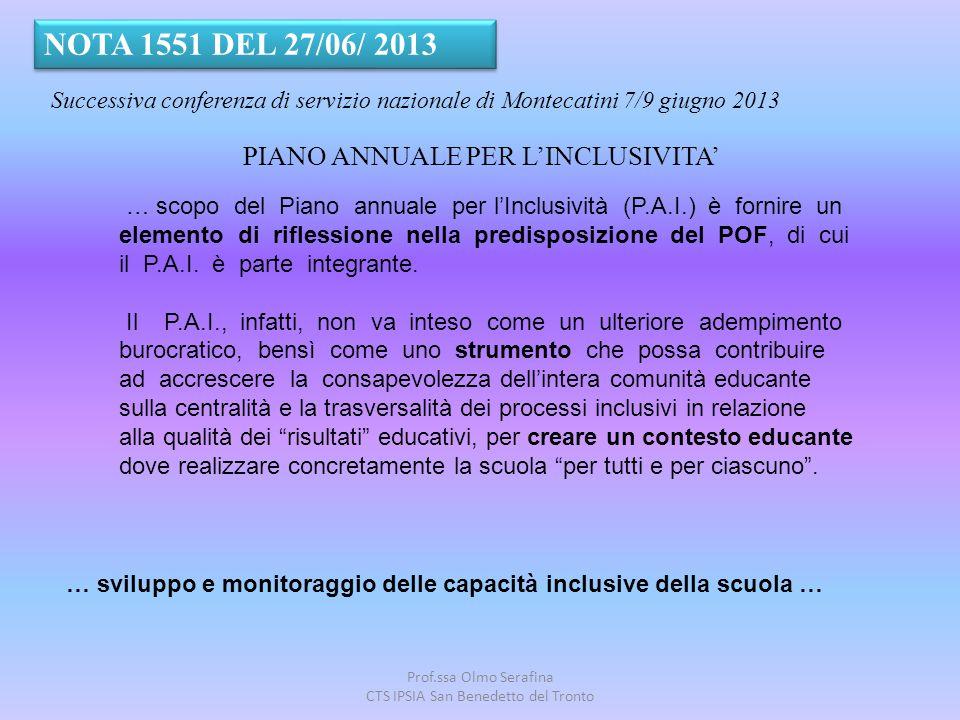 Prof.ssa Olmo Serafina CTS IPSIA San Benedetto del Tronto PIANO ANNUALE PER L'INCLUSIVITA' NOTA 1551 DEL 27/06/ 2013 Successiva conferenza di servizio
