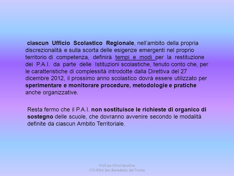 Prof.ssa Olmo Serafina CTS IPSIA San Benedetto del Tronto ciascun Ufficio Scolastico Regionale, nell'ambito della propria discrezionalità e sulla scor