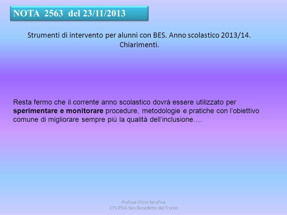 Prof.ssa Olmo Serafina CTS IPSIA San Benedetto del Tronto Resta fermo che il corrente anno scolastico dovrà essere utilizzato per sperimentare e monit