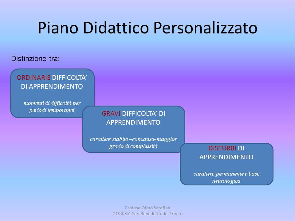 Prof.ssa Olmo Serafina CTS IPSIA San Benedetto del Tronto Piano Didattico Personalizzato Distinzione tra: ORDINARIE DIFFICOLTA' DI APPRENDIMENTO momen