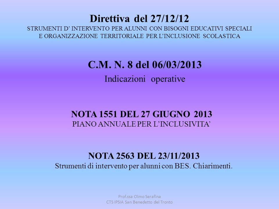 Prof.ssa Olmo Serafina CTS IPSIA San Benedetto del Tronto Direttiva del 27/12/12 STRUMENTI D' INTERVENTO PER ALUNNI CON BISOGNI EDUCATIVI SPECIALI E O