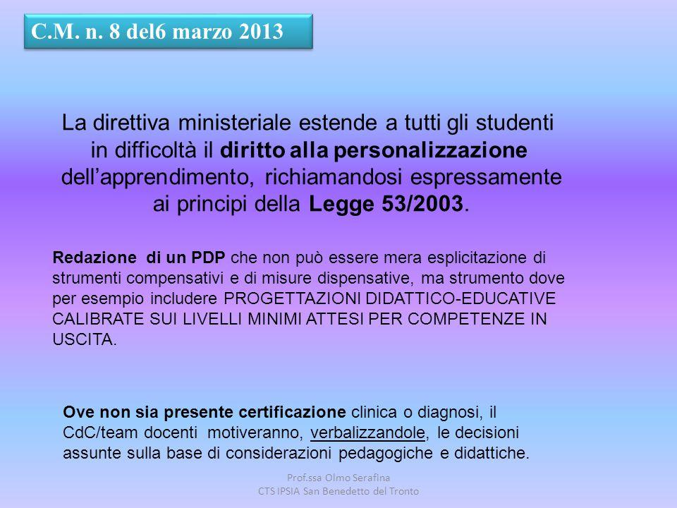 Prof.ssa Olmo Serafina CTS IPSIA San Benedetto del Tronto C.M. n. 8 del6 marzo 2013 La direttiva ministeriale estende a tutti gli studenti in difficol