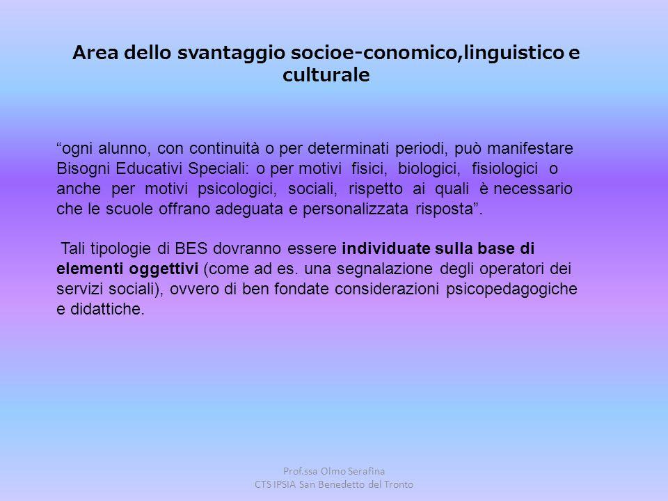 """Prof.ssa Olmo Serafina CTS IPSIA San Benedetto del Tronto """"ogni alunno, con continuità o per determinati periodi, può manifestare Bisogni Educativi Sp"""