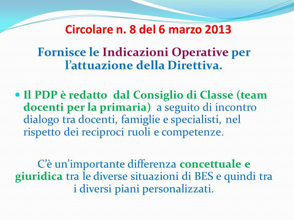 Circolare n.8 del 6 marzo 2013 Fornisce le Indicazioni Operative per l'attuazione della Direttiva.