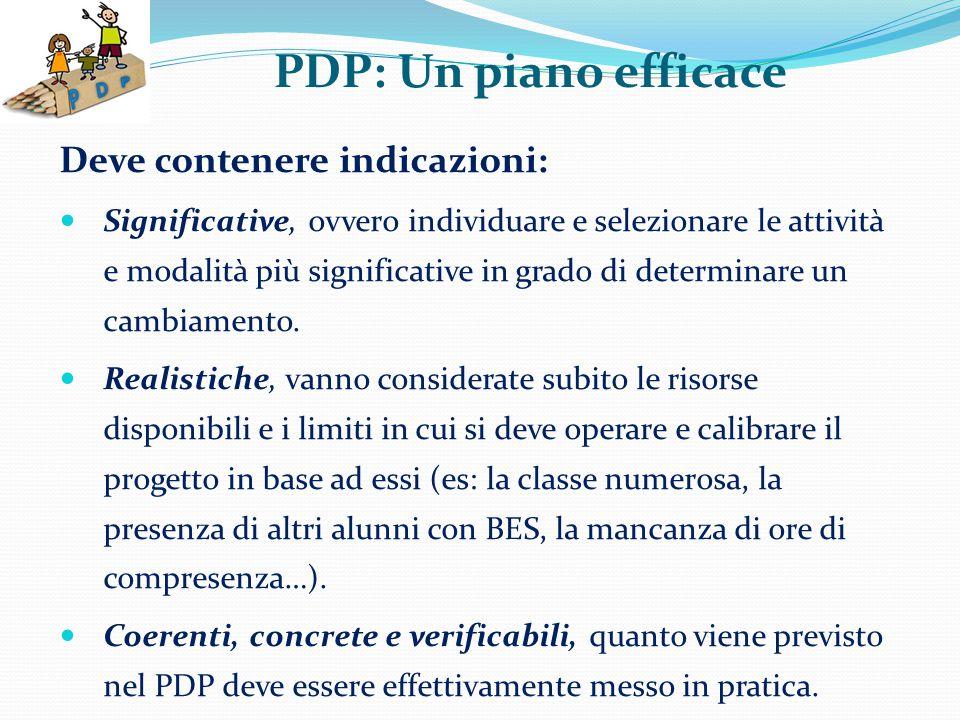 PDP: Un piano efficace Deve contenere indicazioni: Significative, ovvero individuare e selezionare le attività e modalità più significative in grado di determinare un cambiamento.