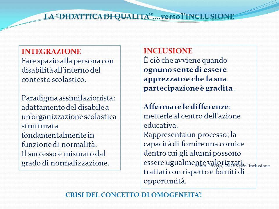 LA DIDATTICA DI QUALITA' ….verso l'INCLUSIONE INTEGRAZIONE Fare spazio alla persona con disabilità all'interno del contesto scolastico.