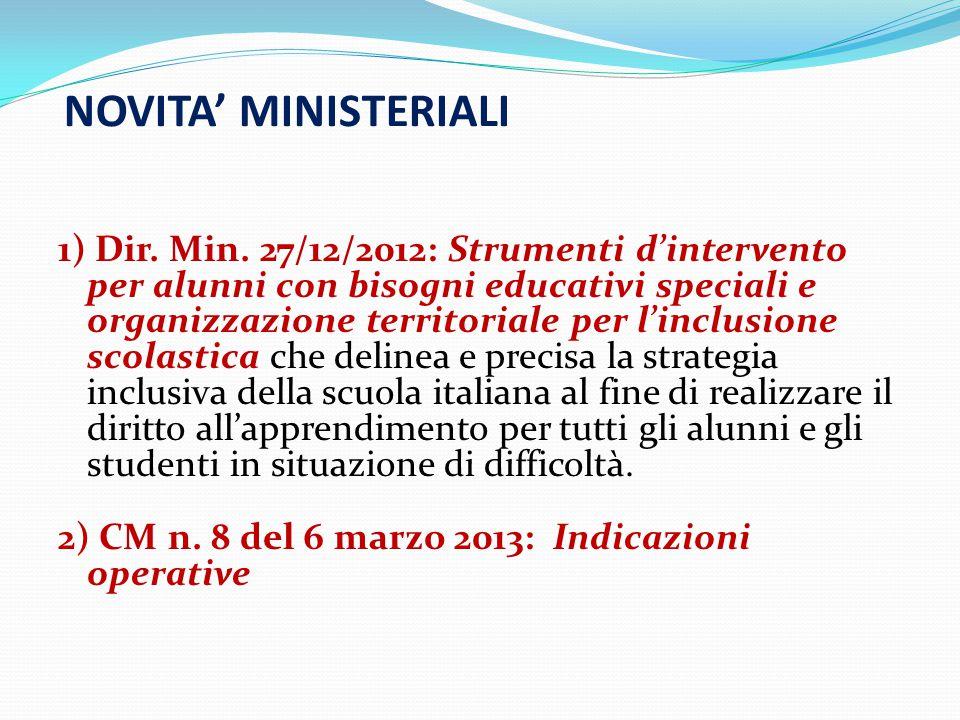 NOVITA' MINISTERIALI 1) Dir.Min.