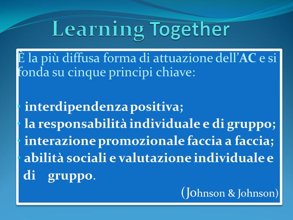 È la più diffusa forma di attuazione dell'AC e si fonda su cinque principi chiave: interdipendenza positiva; la responsabilità individuale e di gruppo; interazione promozionale faccia a faccia; abilità sociali e valutazione individuale e di gruppo.