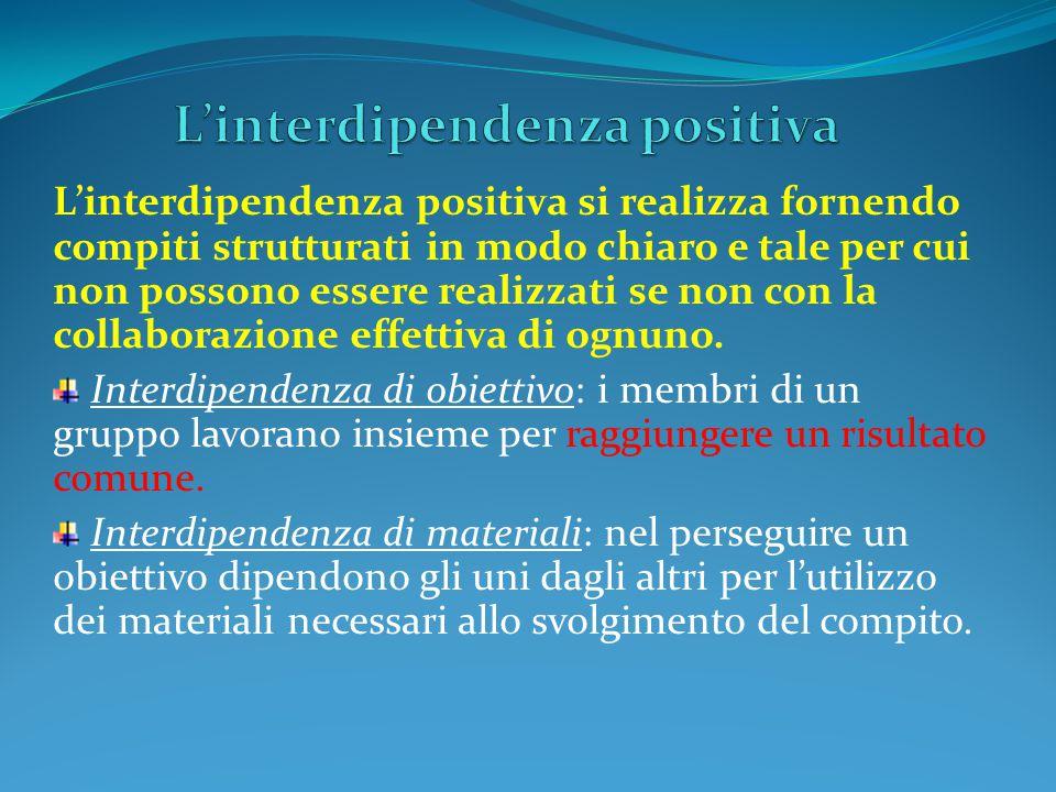 L'interdipendenza positiva si realizza fornendo compiti strutturati in modo chiaro e tale per cui non possono essere realizzati se non con la collaborazione effettiva di ognuno.