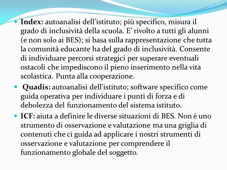 Index: autoanalisi dell'istituto; più specifico, misura il grado di inclusività della scuola.