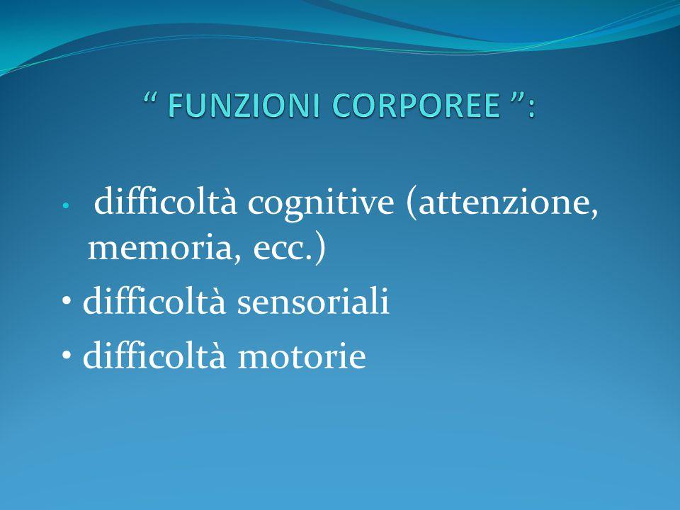 difficoltà cognitive (attenzione, memoria, ecc.) difficoltà sensoriali difficoltà motorie