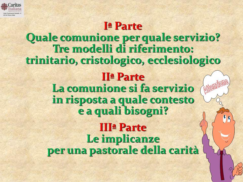 Iª Parte Quale comunione per quale servizio? Tre modelli di riferimento: trinitario, cristologico, ecclesiologico IIª Parte La comunione si fa servizi