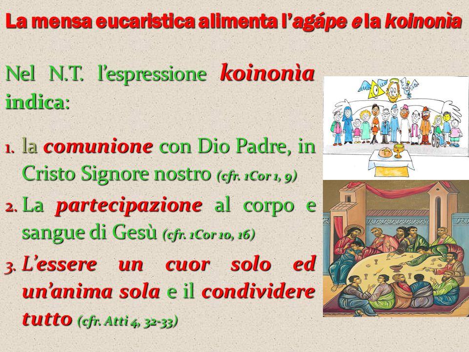 Nel N.T. l'espressione koinonìa indica: 1. lacomunionecon Dio Padre, in Cristo Signore nostro (cfr. 1Cor 1, 9) 1. la comunione con Dio Padre, in Crist