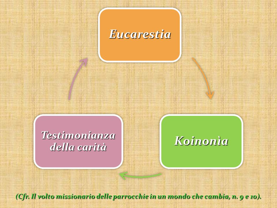Eucarestia Koinonìa Testimonianza della carità (Cfr. Il volto missionario delle parrocchie in un mondo che cambia, n. 9 e 10).