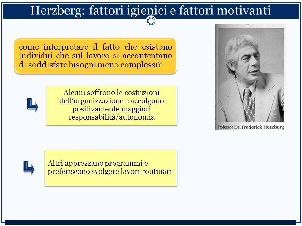 Herzberg: fattori igienici e fattori motivanti come interpretare il fatto che esistono individui che sul lavoro si accontentano di soddisfare bisogni meno complessi.