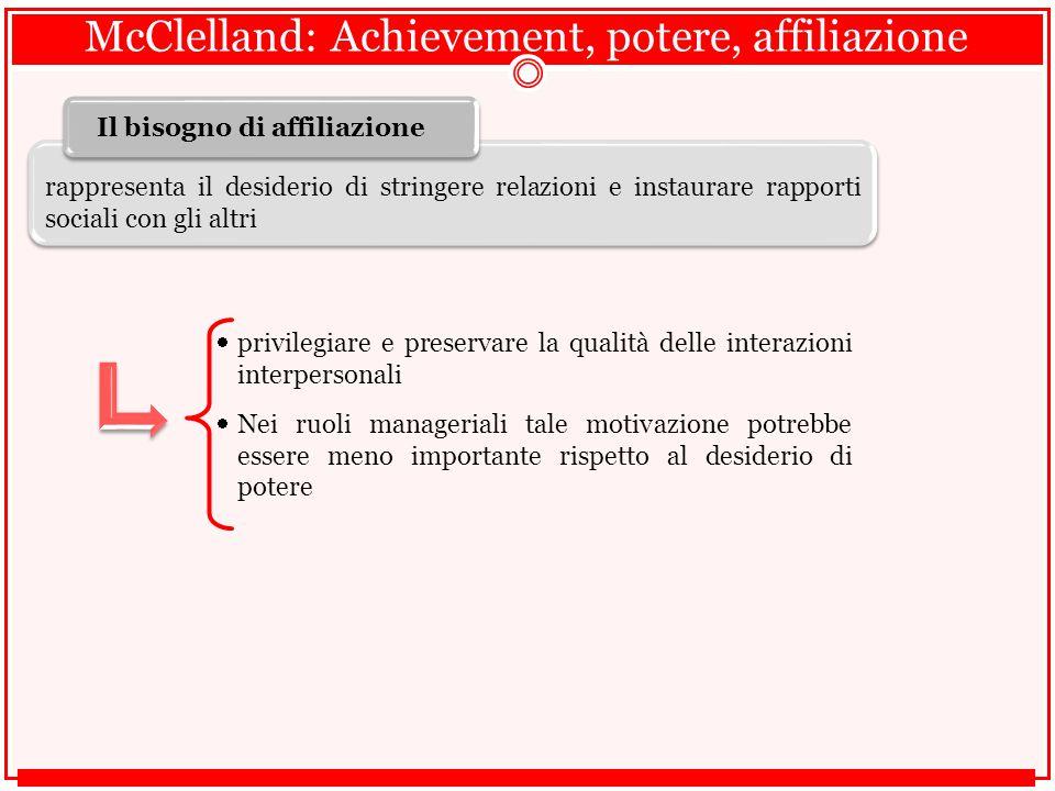 McClelland: Achievement, potere, affiliazione  privilegiare e preservare la qualità delle interazioni interpersonali  Nei ruoli manageriali tale motivazione potrebbe essere meno importante rispetto al desiderio di potere rappresenta il desiderio di stringere relazioni e instaurare rapporti sociali con gli altri Il bisogno di affiliazione