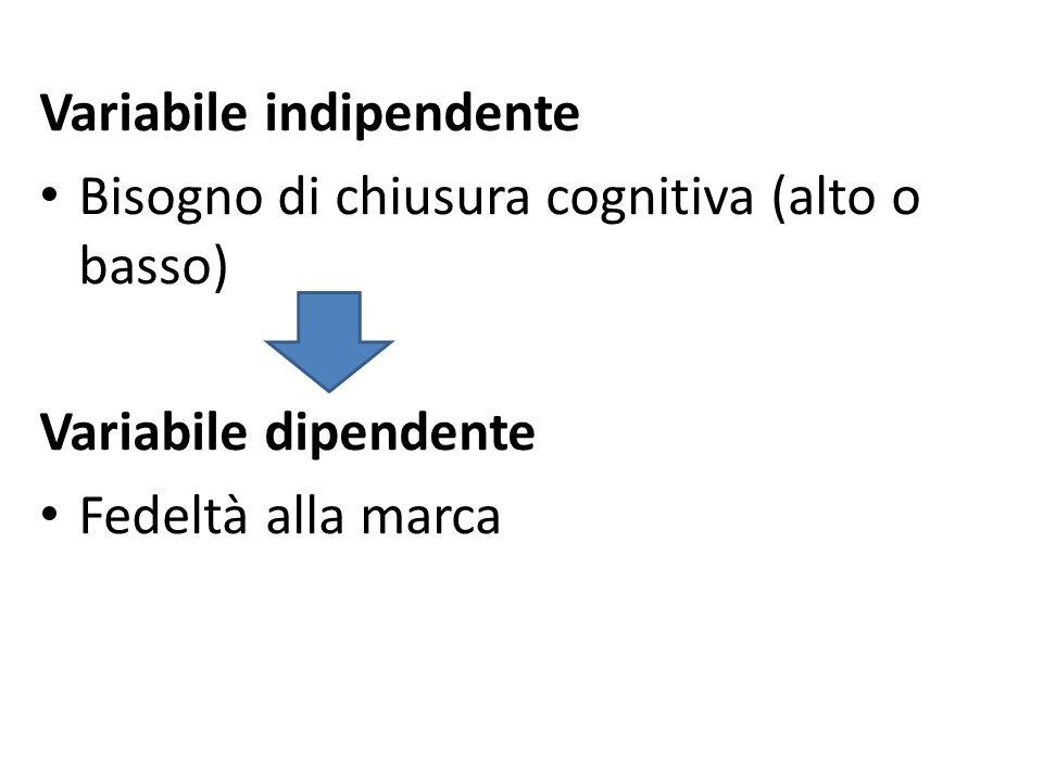 Variabile indipendente Bisogno di chiusura cognitiva (alto o basso) Variabile dipendente Fedeltà alla marca