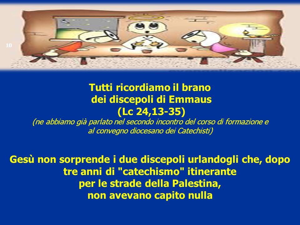 Tutti ricordiamo il brano dei discepoli di Emmaus (Lc 24,13-35) (ne abbiamo già parlato nel secondo incontro del corso di formazione e al convegno dio