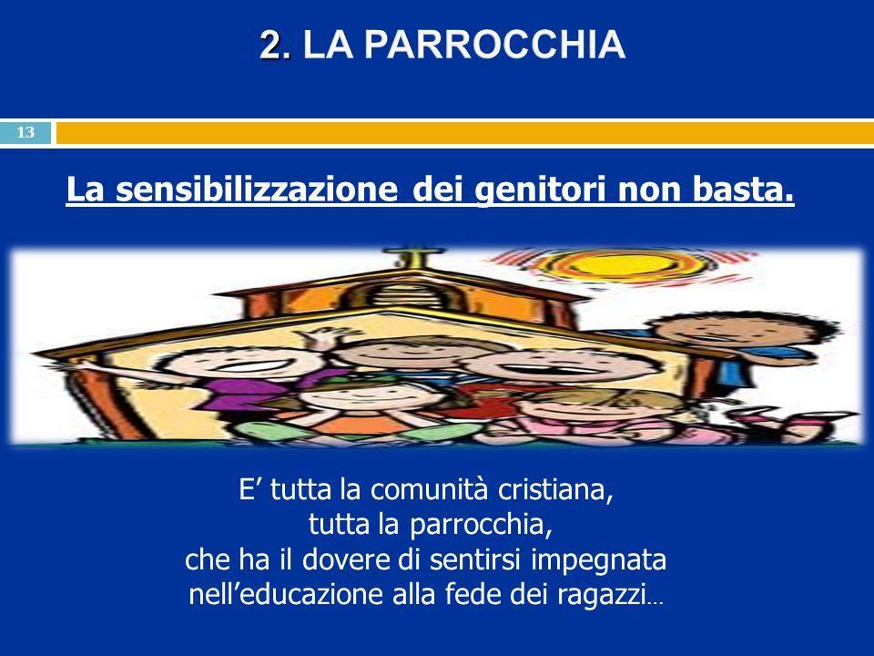 La sensibilizzazione dei genitori non basta. 13 E' tutta la comunità cristiana, tutta la parrocchia, che ha il dovere di sentirsi impegnata nell'educa