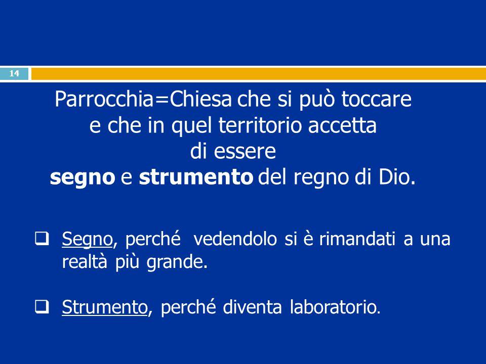 14 Parrocchia=Chiesa che si può toccare e che in quel territorio accetta di essere segno e strumento del regno di Dio.  Segno, perché vedendolo si è