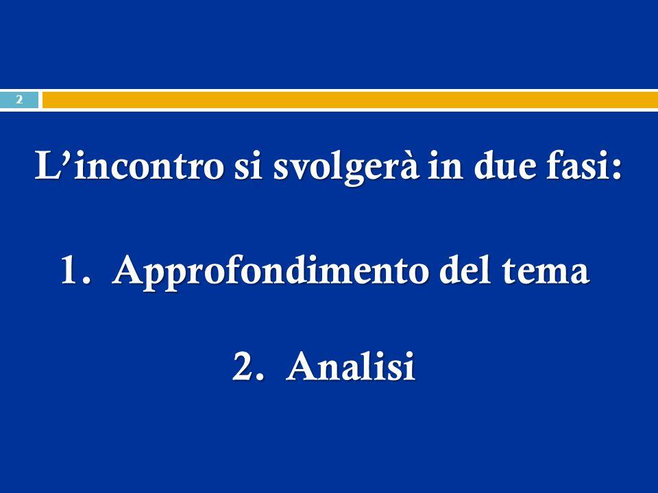 1.Approfondimento del tema 2.Analisi L'incontro si svolgerà in due fasi: 2