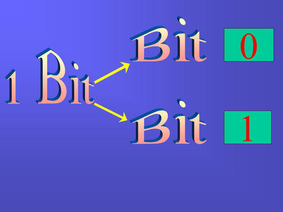 Se si ha a disposizione un solo Bit si possono rappresentare solo due simboli ad esempio: Oppure